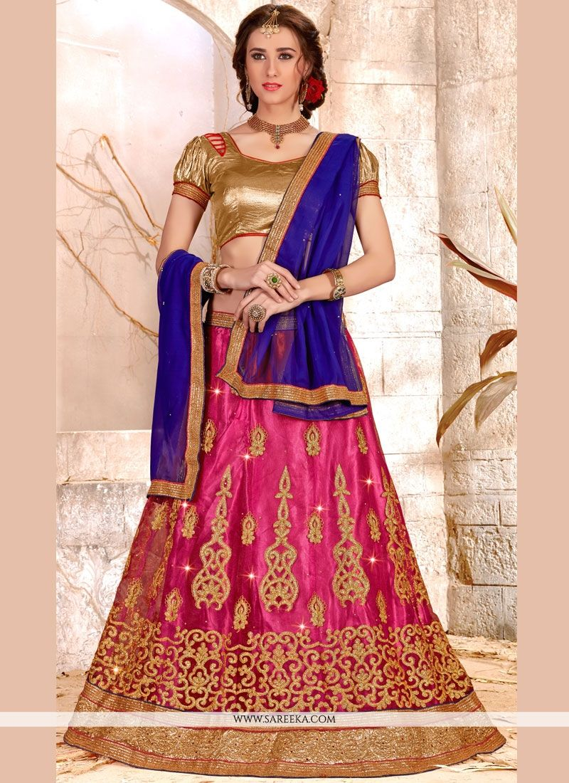 Embroidered Work Pink Net Lehenga Choli