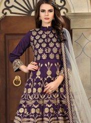Embroidered Work Purple Anarkali Salwar Kameez