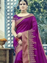 Buy Online Embroidered Work Purple Art Silk Designer Traditional Saree