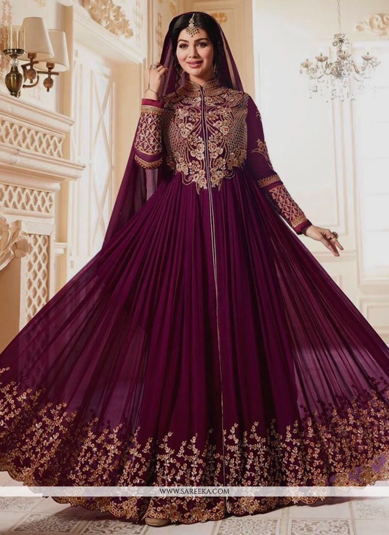 Embroidered Work Purple Georgette Anarkali Salwar Kameez