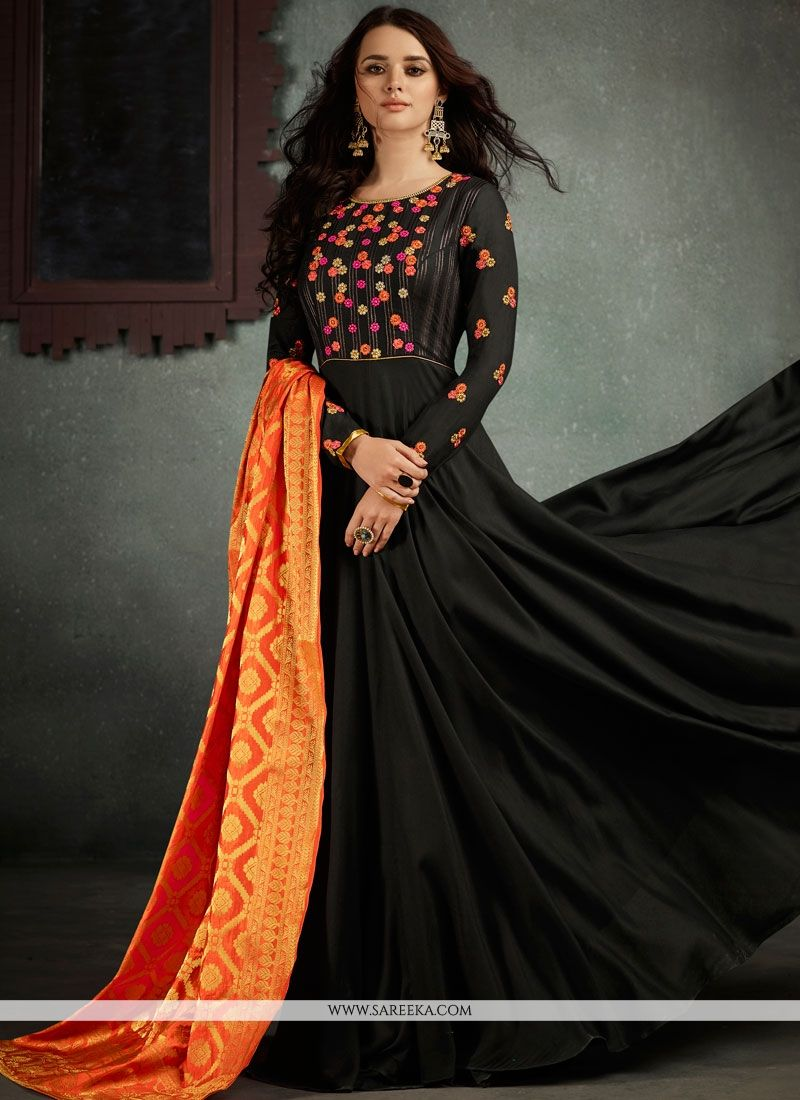 Embroidered Work Rayon Floor Length Anarkali Suit