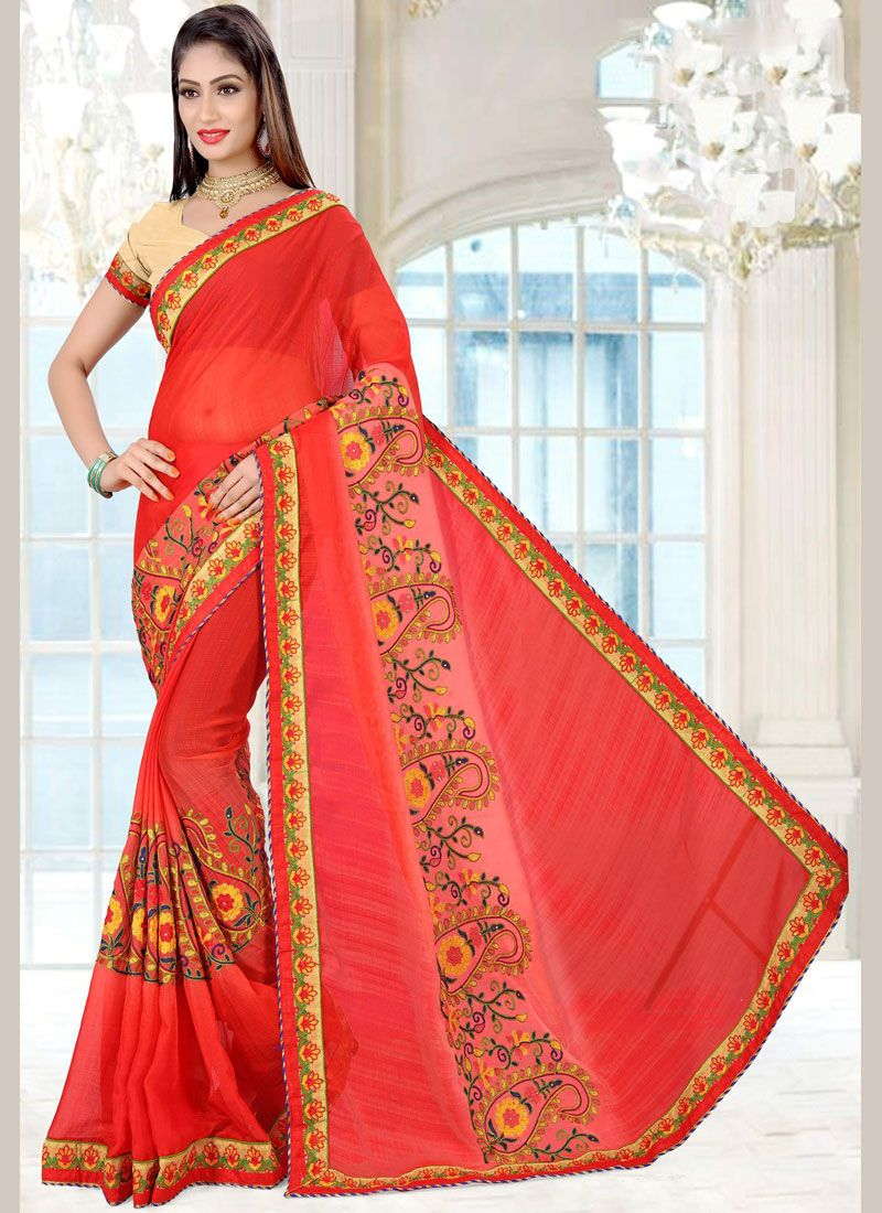 Embroidered Work Red Faux Chiffon Classic Saree