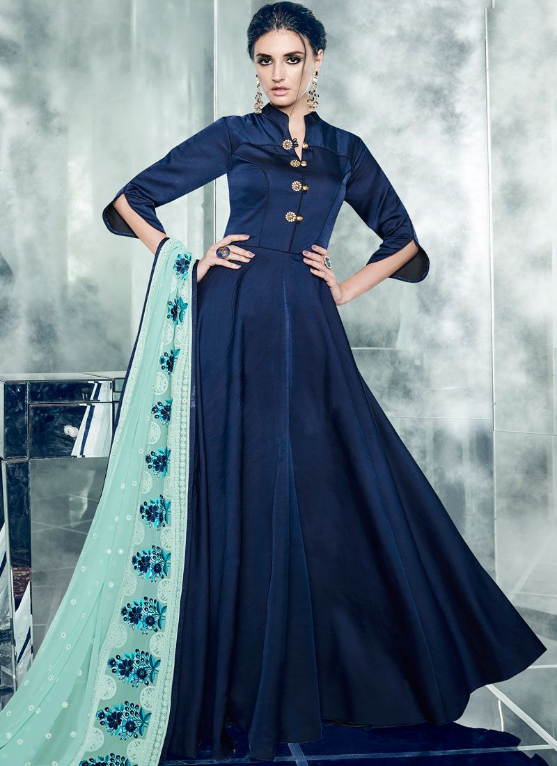 Embroidered Work Satin Silk Readymade Anarkali Suit