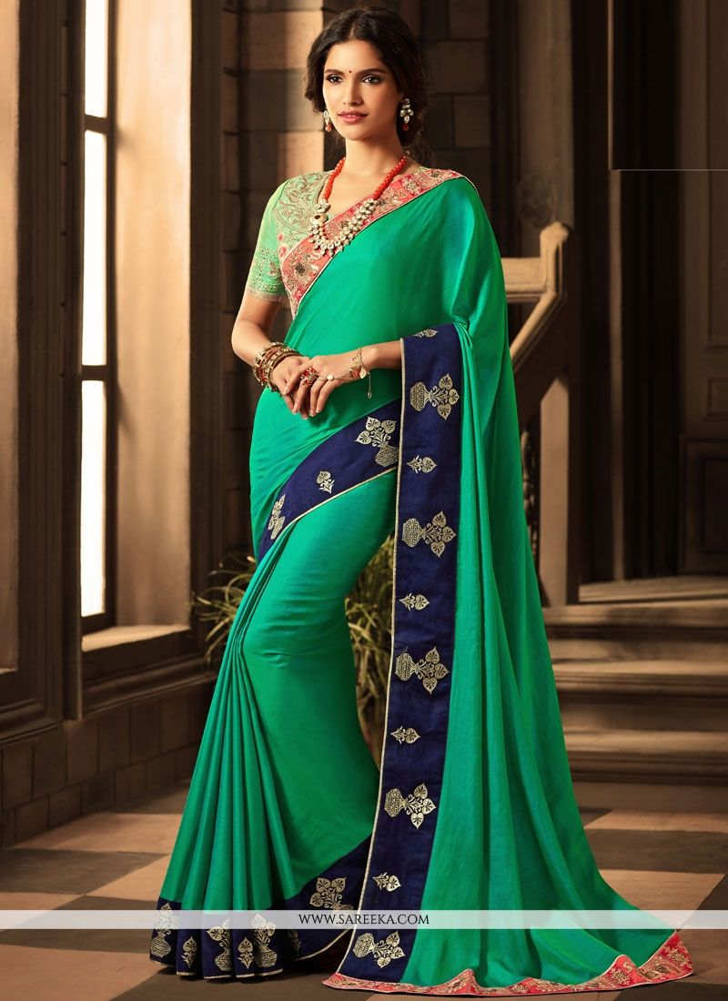 Embroidered Work Sea Green Art Silk Designer Traditional Saree