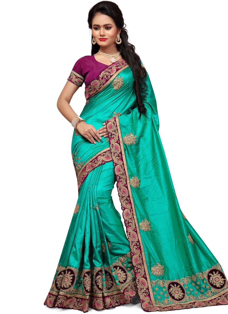 Embroidered Work Sea Green Classic Saree