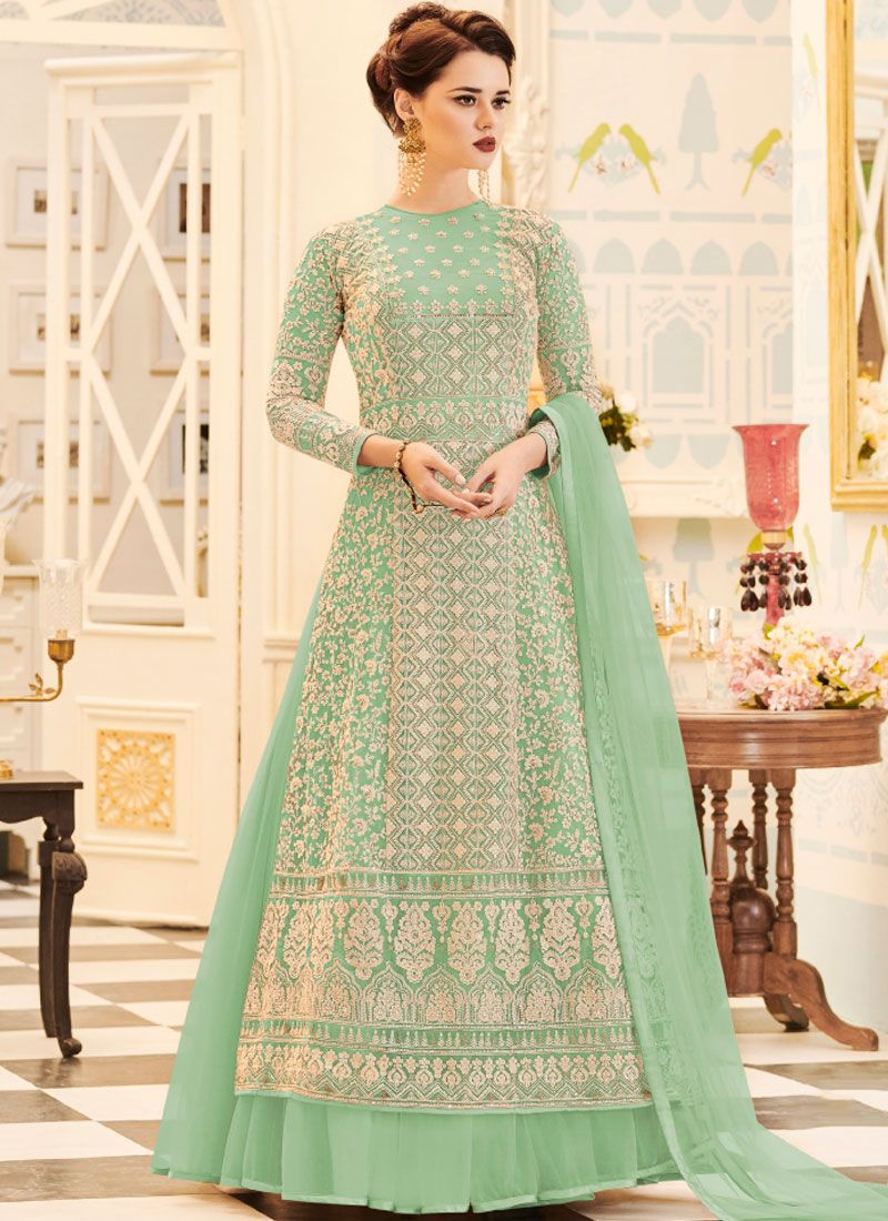 Embroidered Work Sea Green Faux Georgette Floor Length Anarkali Suit