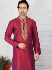 Embroidered Work Silk Magenta Sherwani
