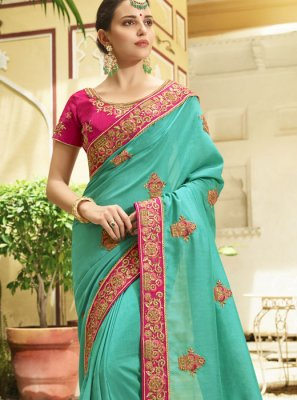 Embroidered Work Silk Trendy Saree