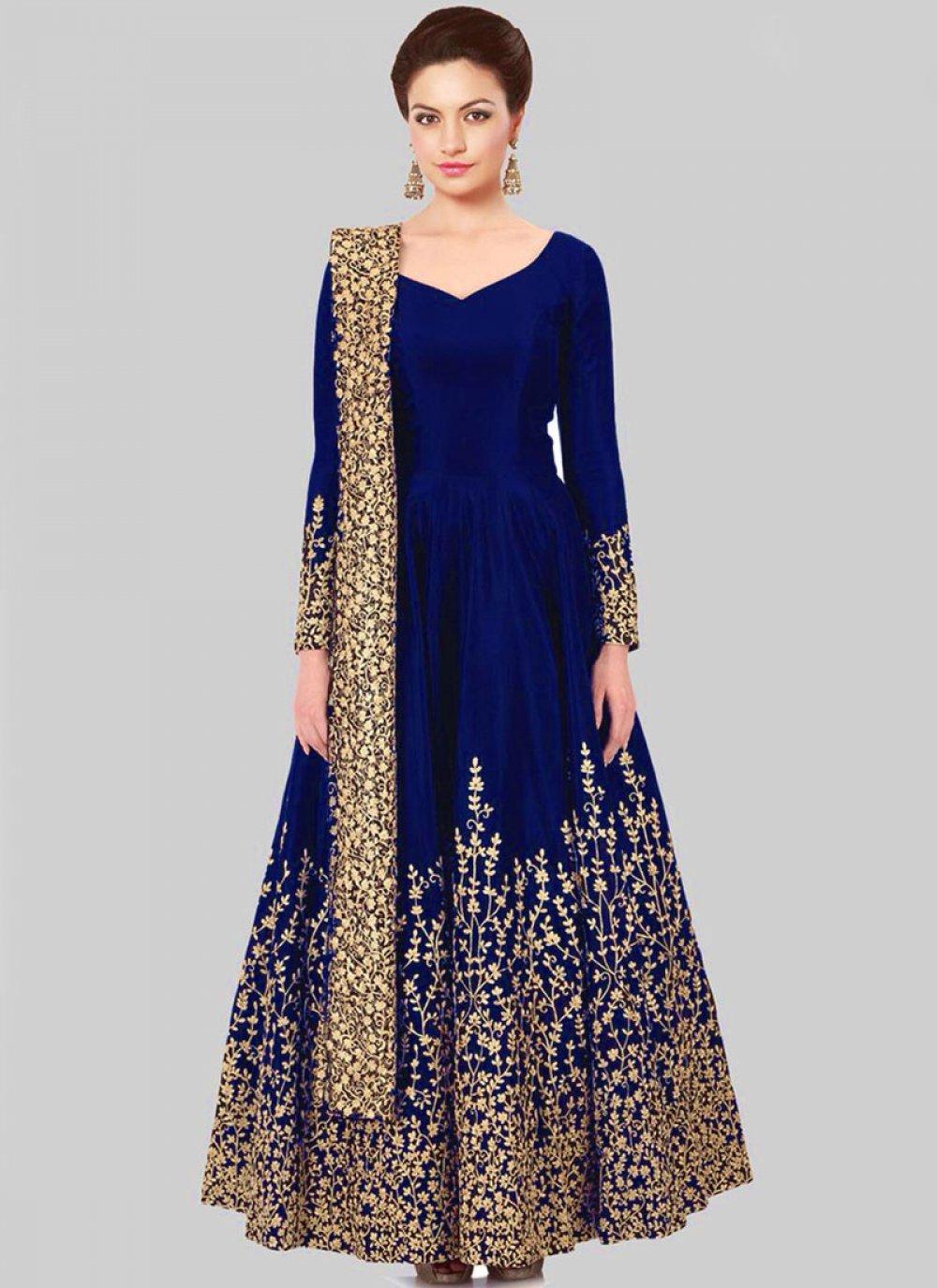 Embroidered Work Tafeta silk Floor Length Anarkali Suit