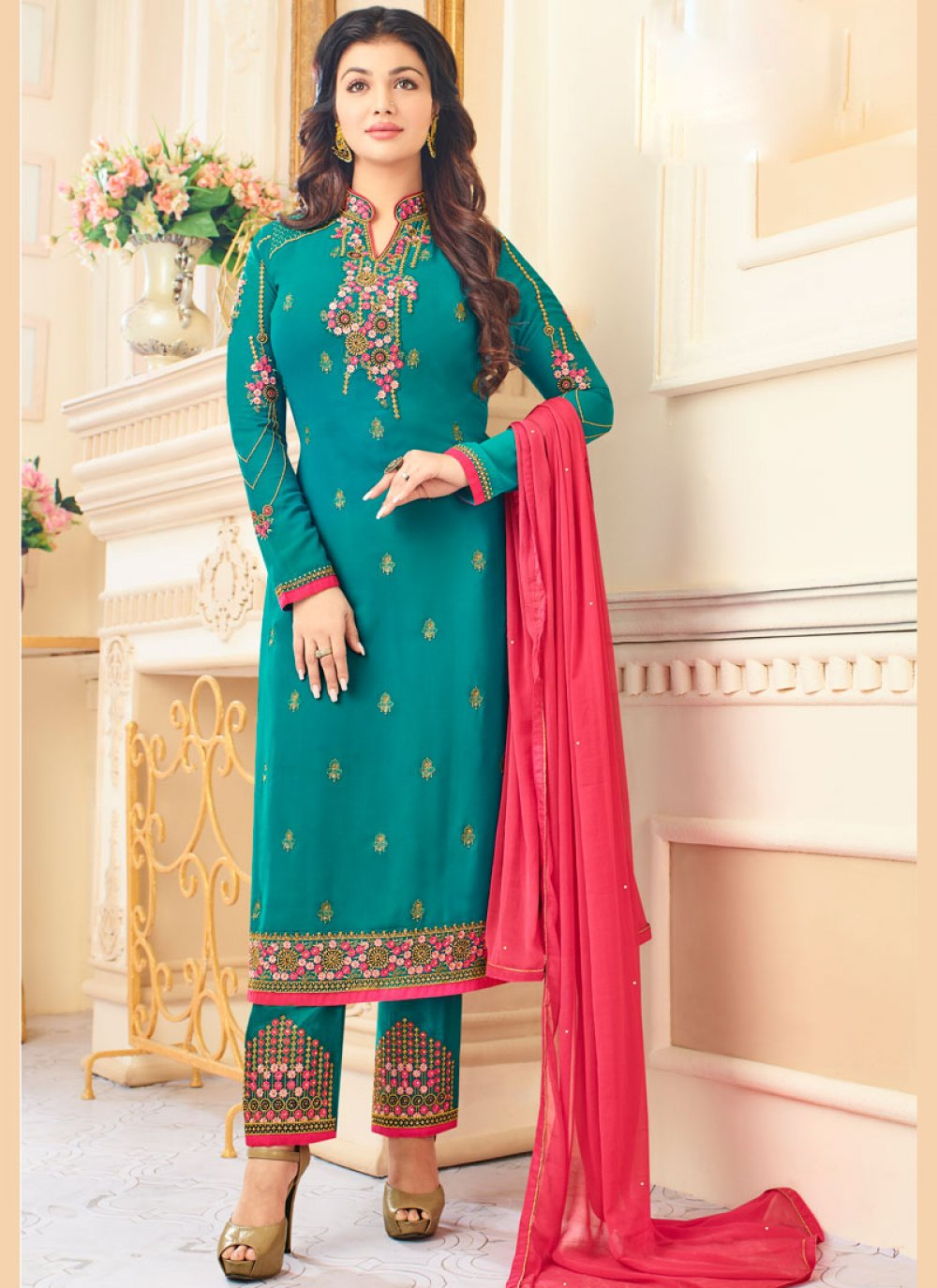 Embroidered Work Turquoise Pant Style Suit