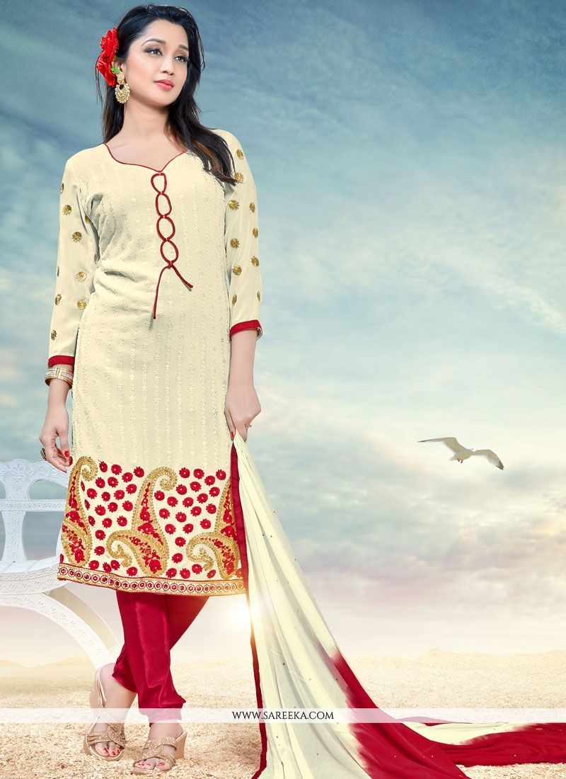 Embroidered Work White Faux Georgette Churidar Designer Suit