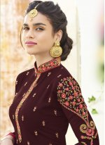 Embroidered Work Wine Designer Straight Suit