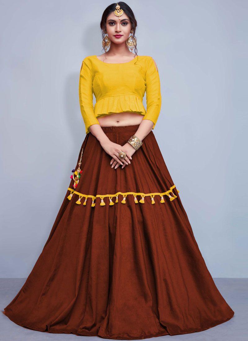 Fancy Brown and Yellow Readymade Lehenga Choli
