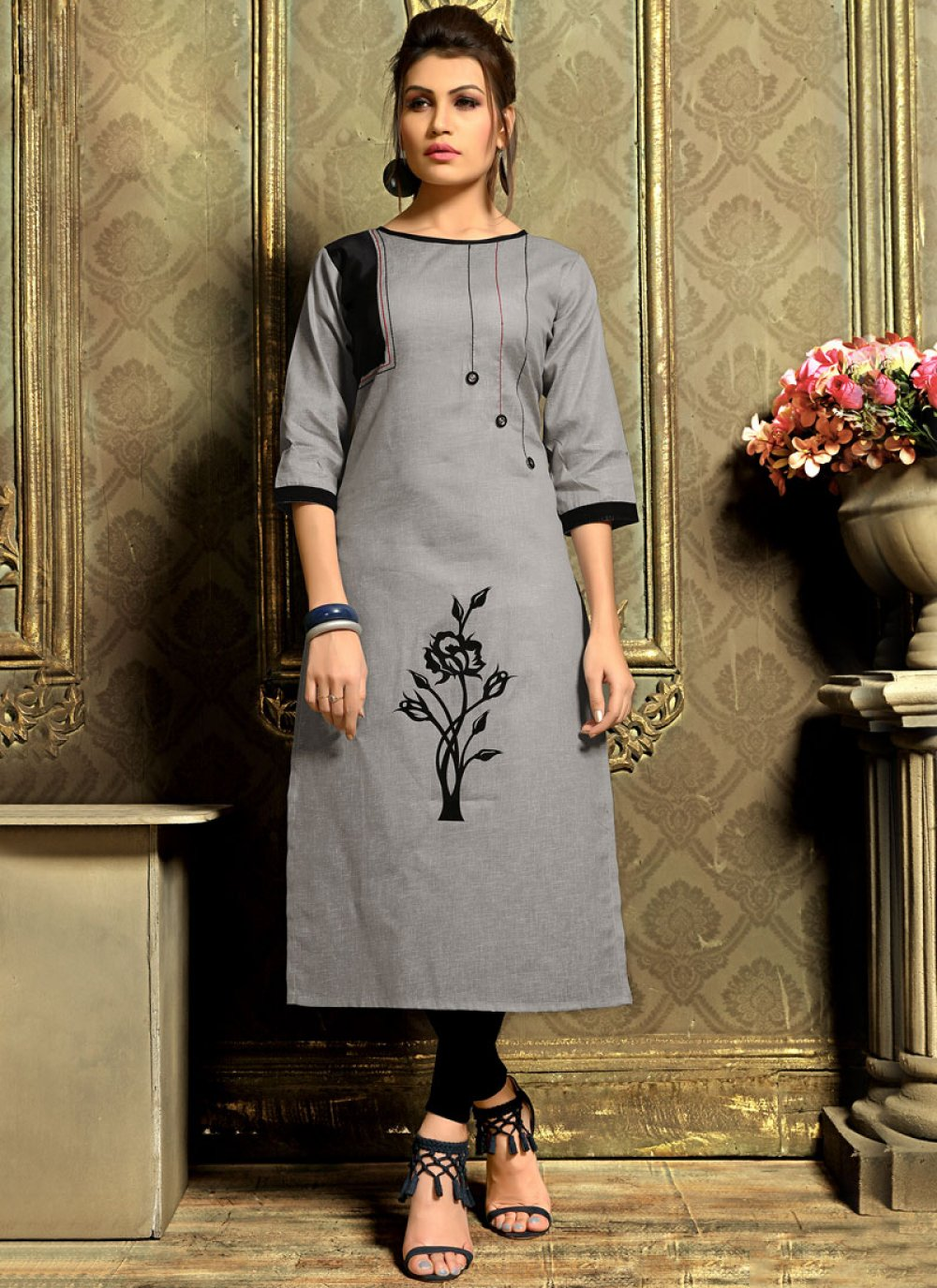 Fancy Cotton   Casual Kurti in Grey