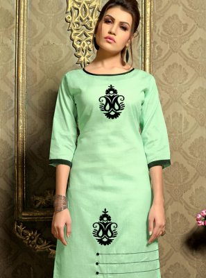 Fancy Cotton   Casual Kurti in Sea Green