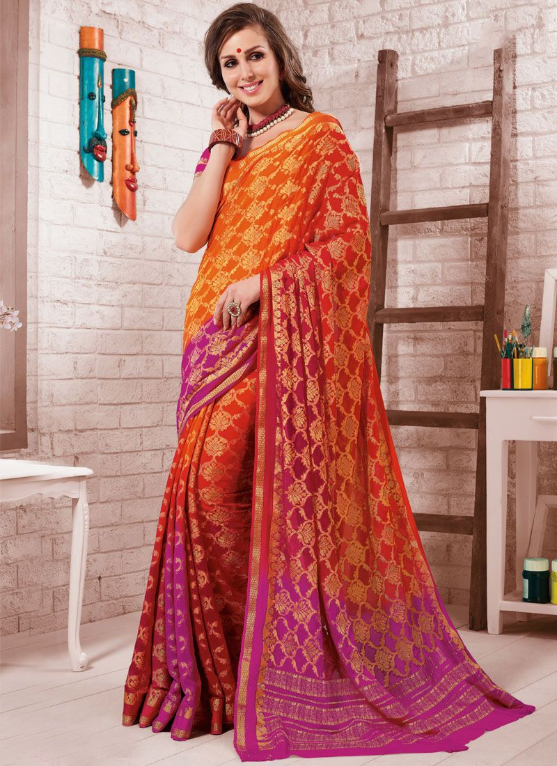 Fancy Crepe Silk Shaded Saree in Hot Pink and Orange