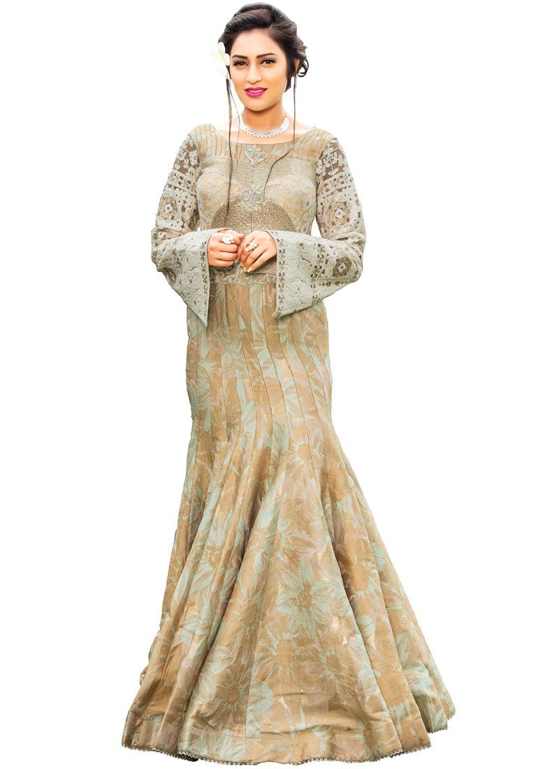 Fancy Fabric Beige Embroidered Work Readymade Gown