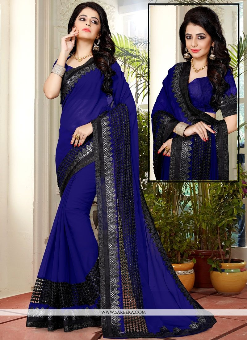 Fancy Fabric Blue Embroidered Work Classic Saree