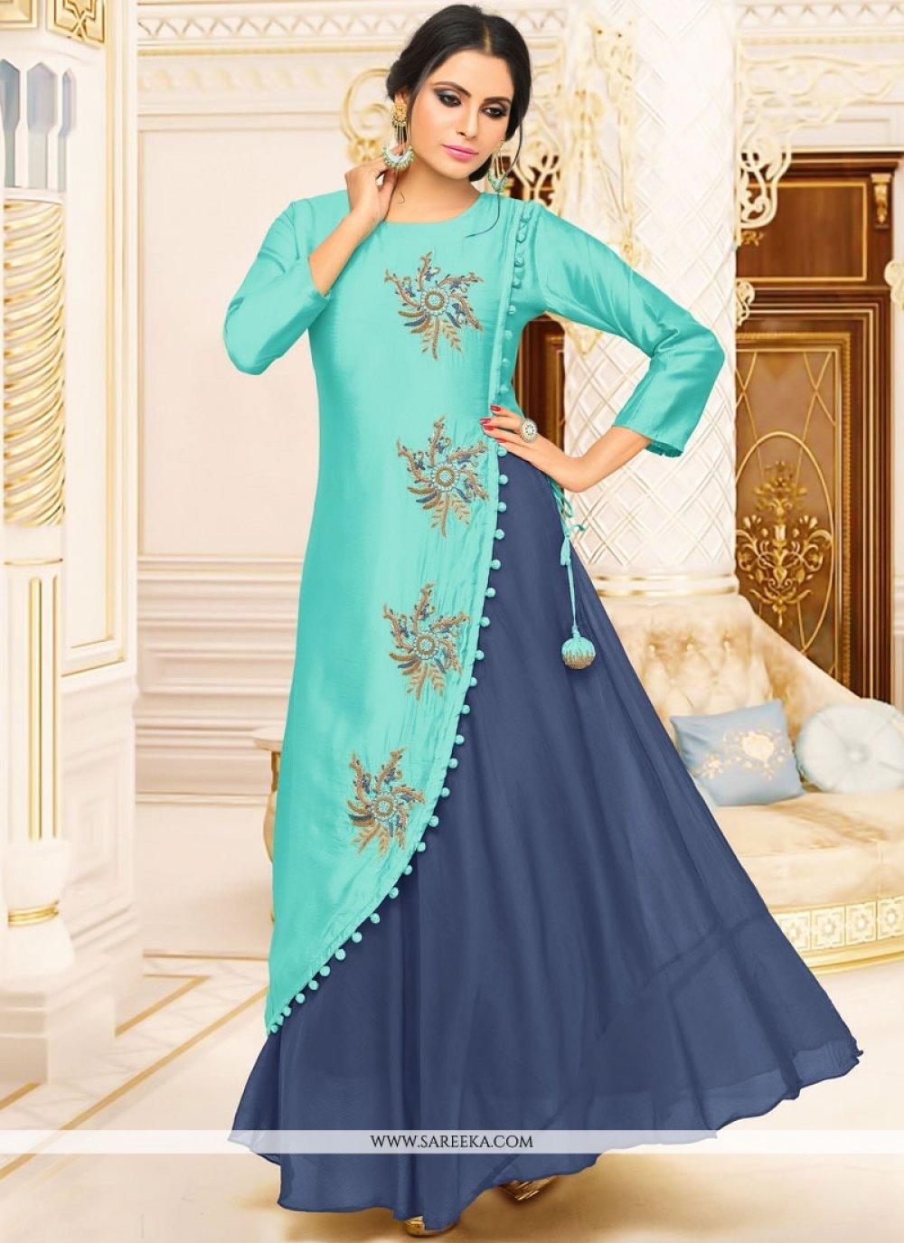 Fancy Fabric Blue Party Wear Kurti