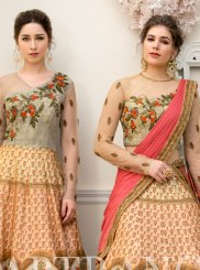 Fancy Fabric Embroidered Beige Designer Gown