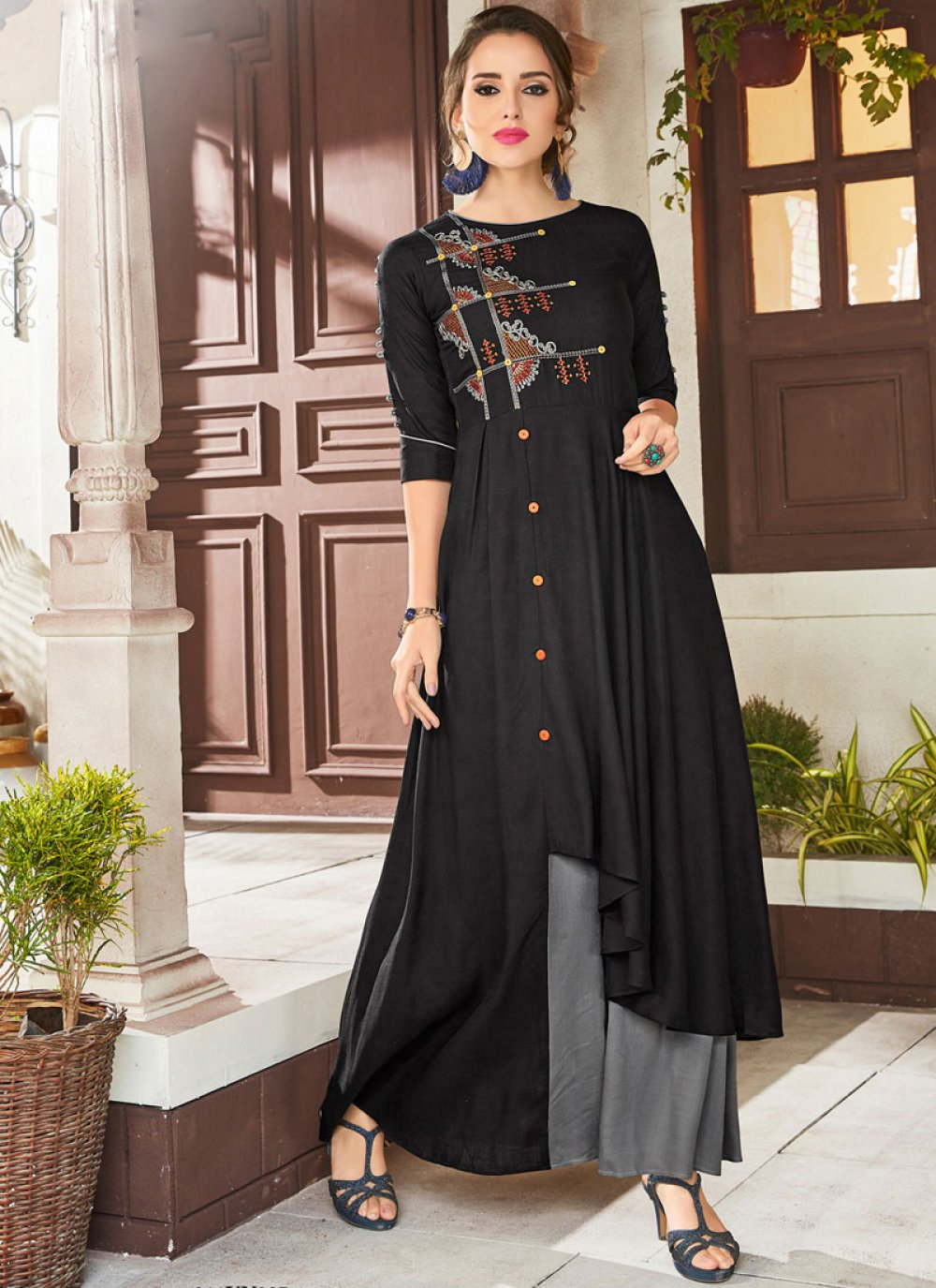Fancy Fabric Embroidered Black Party Wear Kurti