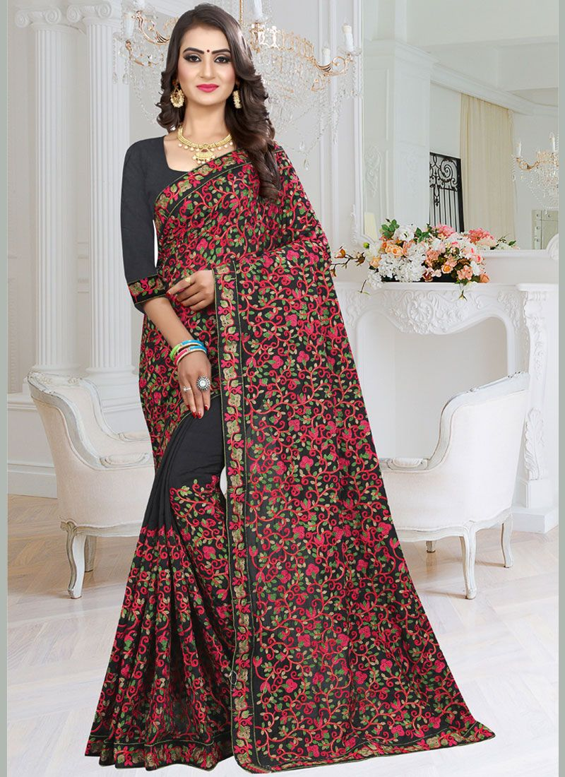 Fancy Fabric Embroidered Black Saree