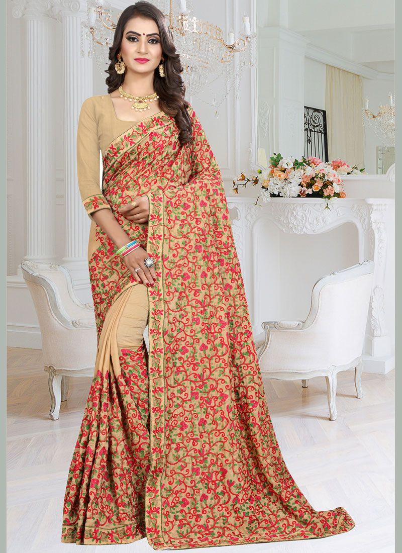 Fancy Fabric Embroidered Classic Designer Saree in Beige