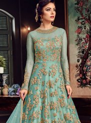 Fancy Fabric Embroidered Floor Length Anarkali Suit in Sea Green