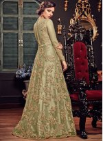 Fancy Fabric Embroidered Green Floor Length Anarkali Suit