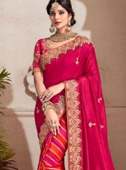 Fancy Fabric Embroidered Magenta and Red Designer Half N Half Saree