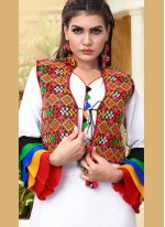 Fancy Fabric Embroidered Party Wear Kurti in White