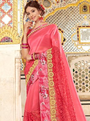 Fancy Fabric Embroidered Pink Designer Saree