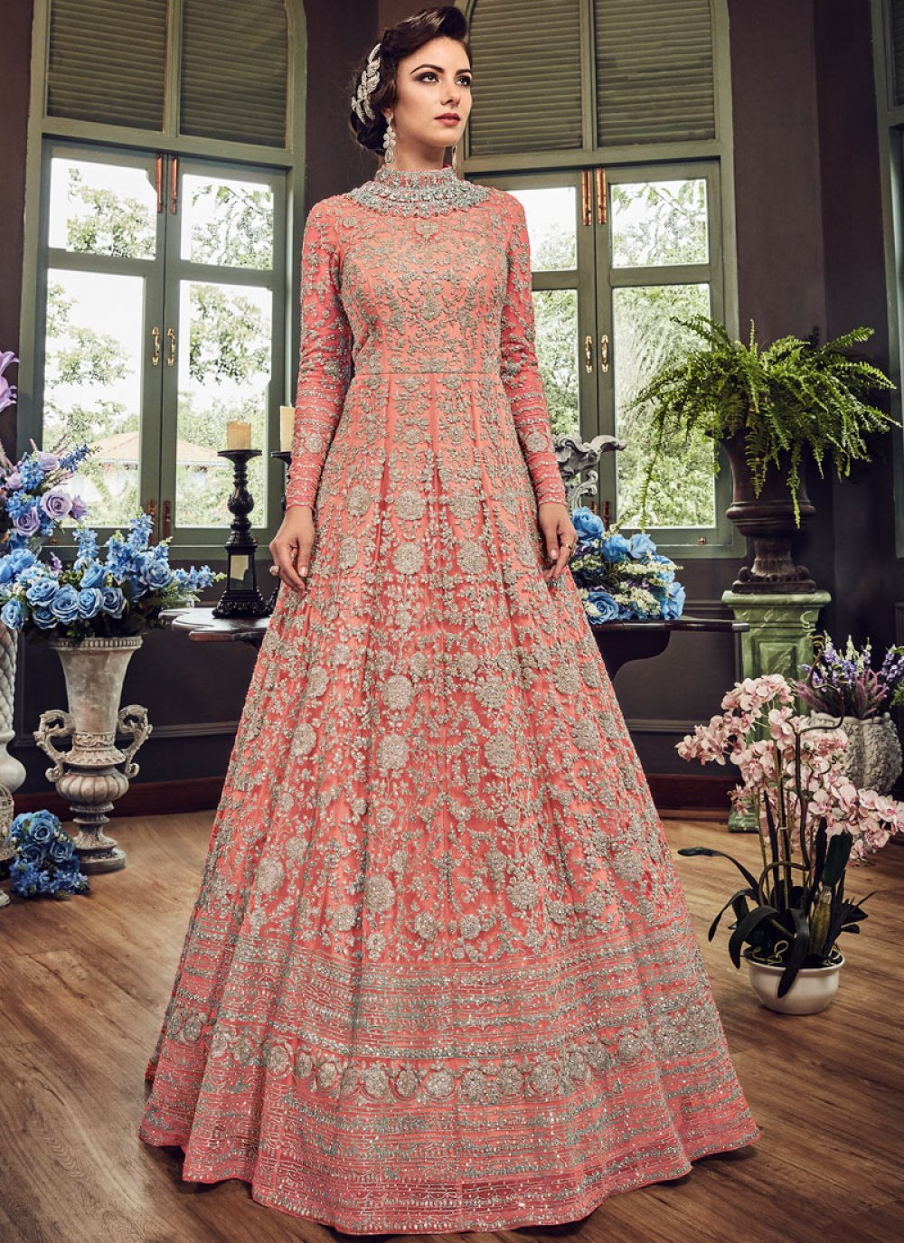 Fancy Fabric Embroidered Pink Floor Length Anarkali Suit