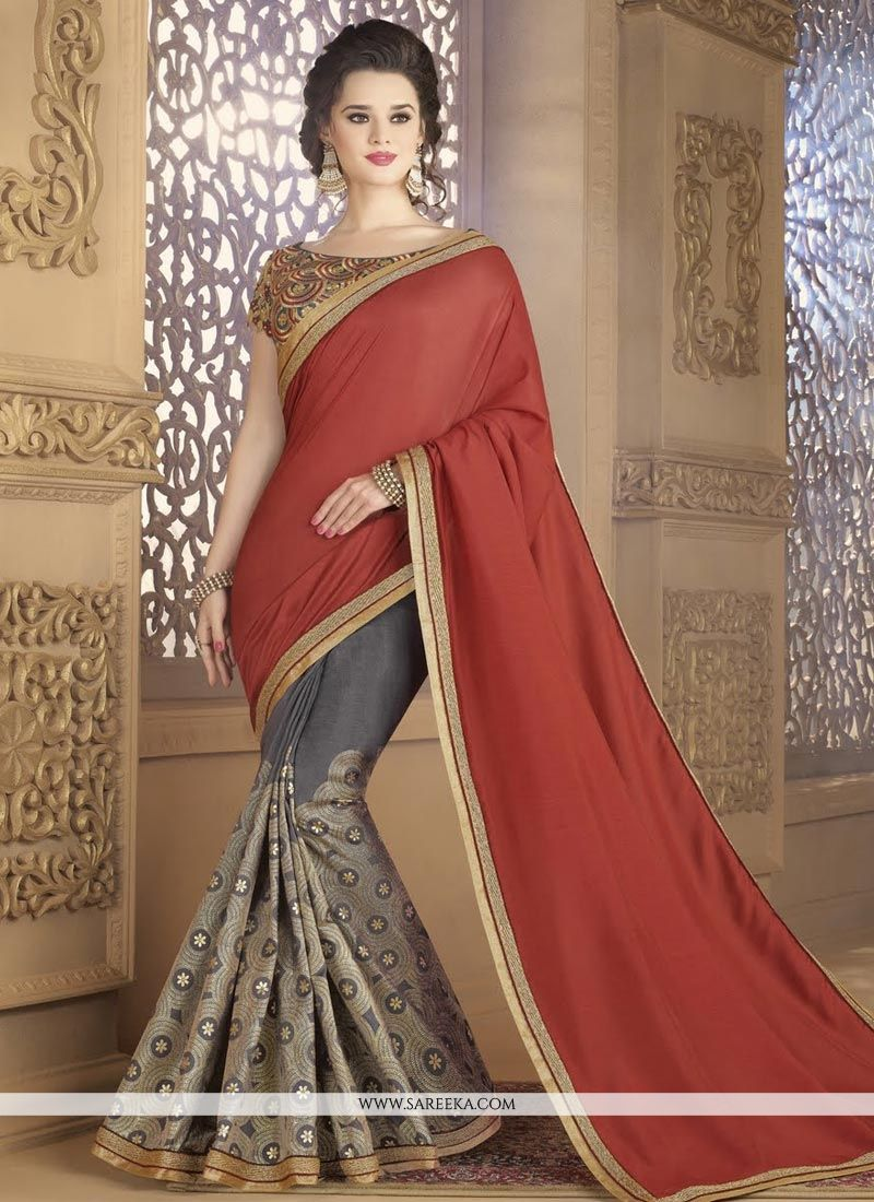 Fancy Fabric Embroidered Work Designer Half N Half Saree