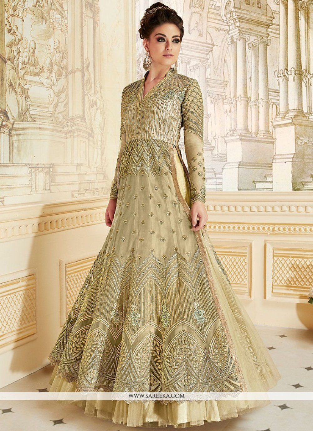 Fancy Fabric Embroidered Work Floor Length Anarkali Suit