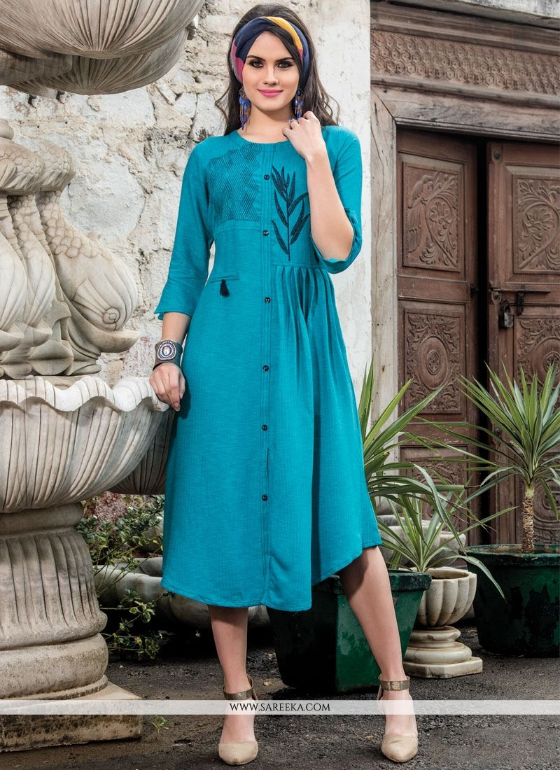 Fancy Fabric Embroidered Work Party Wear Kurti