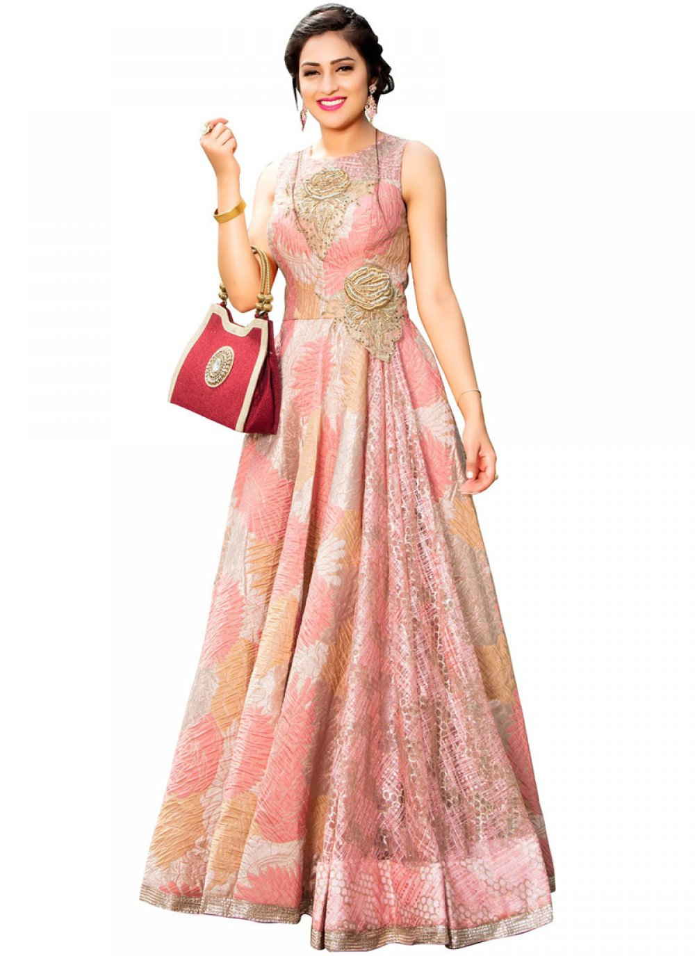 Fancy Fabric Embroidered Work Readymade Gown