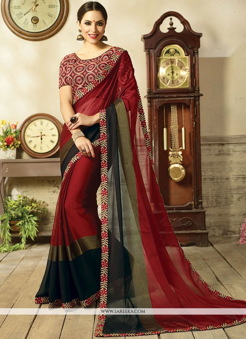 Fancy Fabric Embroidered Work Shaded Saree