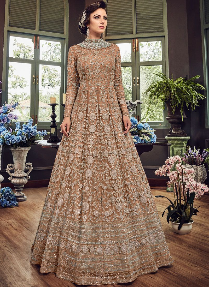 Fancy Fabric Floor Length Anarkali Suit in Beige