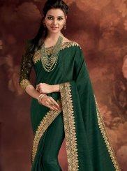 Fancy Fabric Green Classic Designer Saree