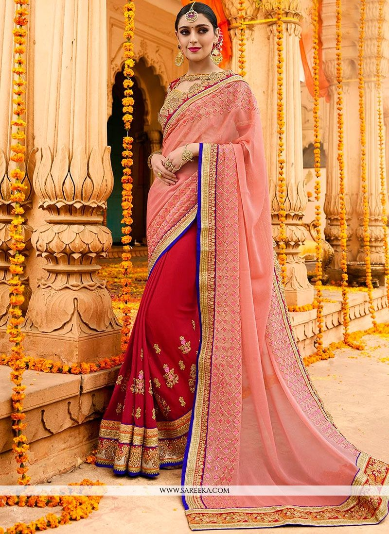 Fancy Fabric Half N Half Designer Saree