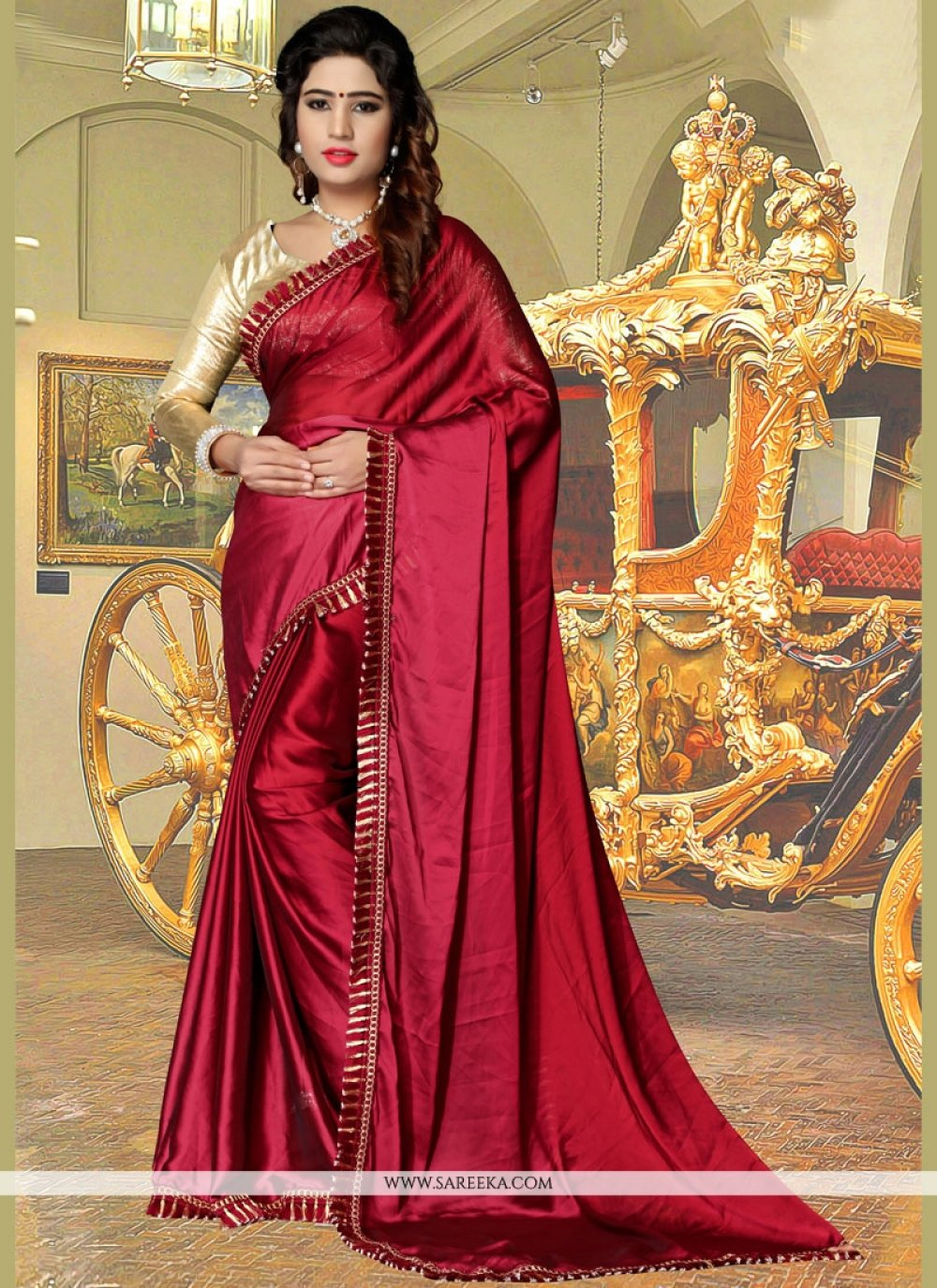 Fancy Fabric Lace Work Casual Saree