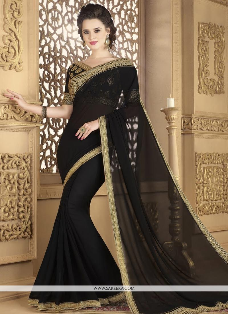 Fancy Fabric Lace Work Classic Saree