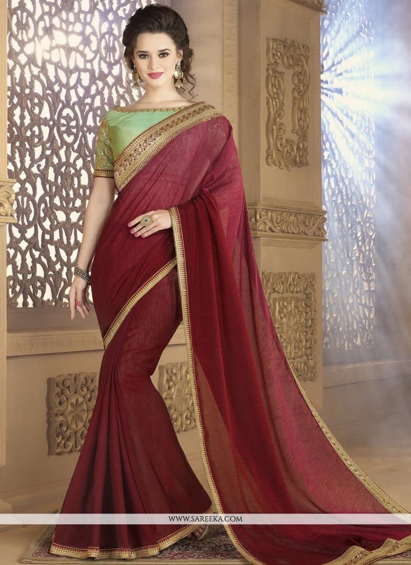 Fancy Fabric Lace Work Shaded Saree