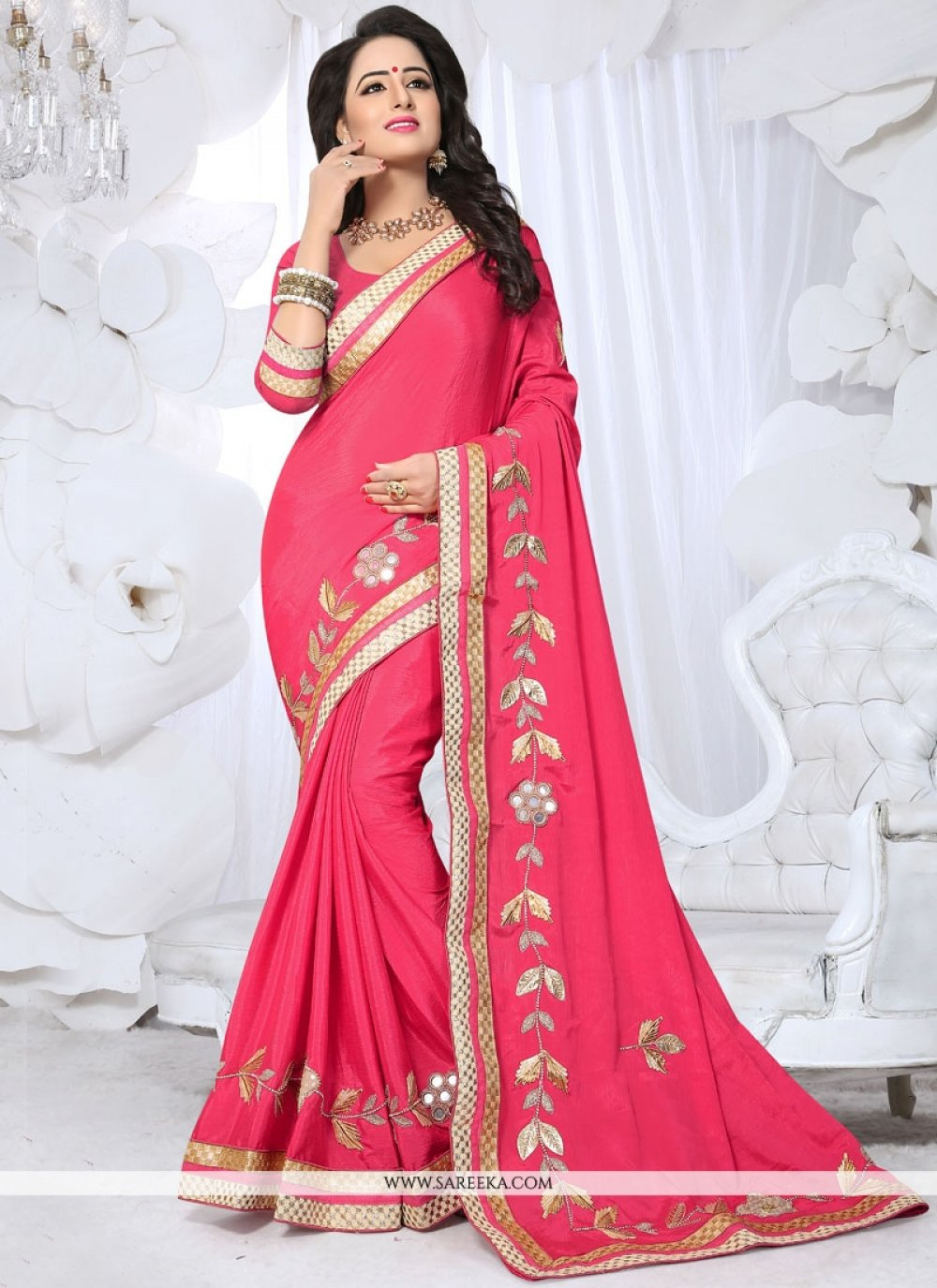 Fancy Fabric Lace Work Traditional  Saree