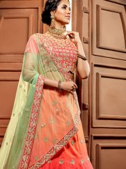 Fancy Fabric Lehenga Choli in Peach and Pink