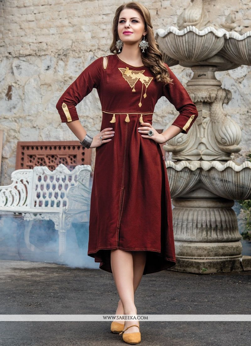 Fancy Fabric Maroon Embroidered Work Party Wear Kurti
