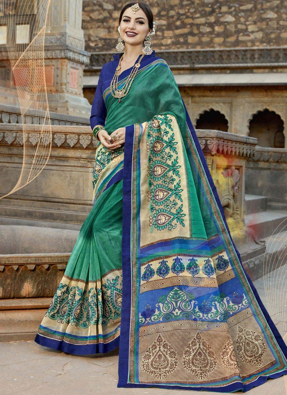 Fancy Fabric Multi Colour Print Work Casual Saree