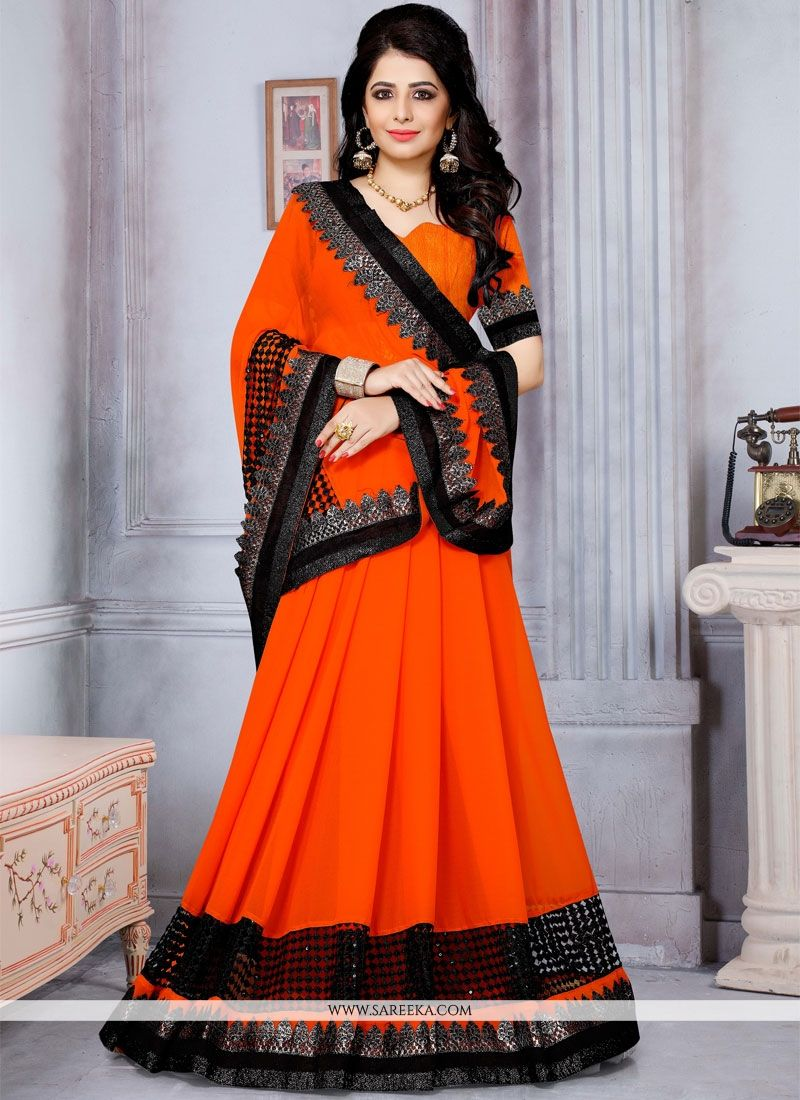 Fancy Fabric Orange Saree