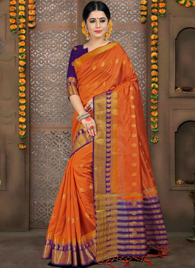 Fancy Fabric Orange Woven Traditional Saree